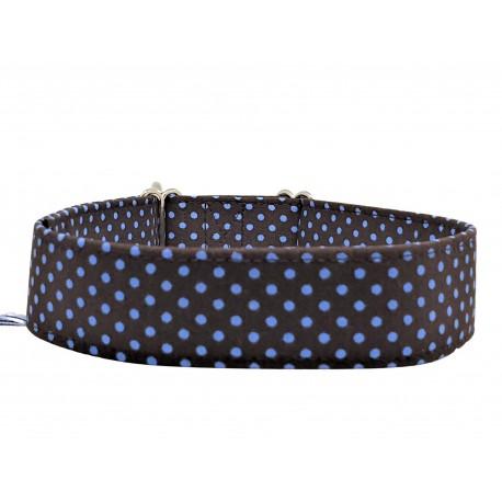 Zugstopp Halsband Blue Dots on Brown