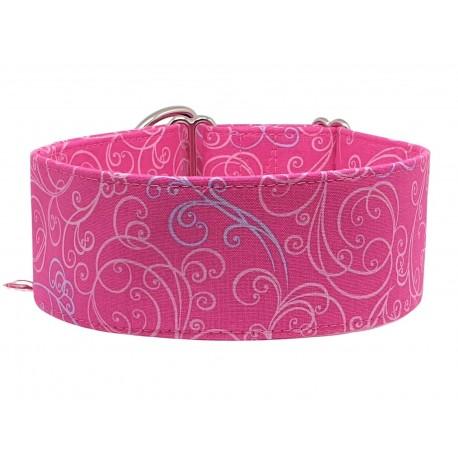 Zugstopp Halsband, Windhundhalsband Rosa Ornamente, 3 verschiedene Breiten