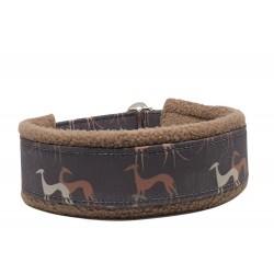 Sofort lieferbar: Zugstopp-Kuschelhalsbänder  Galgo Brown, Breite: 3 cm Gurtband, Weite: 33/27 cm, 38/31 cm oder 38,5/32 cm