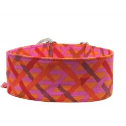 Zugstopp Halsband, Windhundhalsband mit Flechtmotiv in orange-pink, 5 Breiten lieferbar