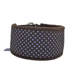 Zugstopp-Kuschelhalsband Windhundhalsband Blue Dots on Darkbrown, weich gepolstert und federleicht, 3 Breiten, Maßanfertigung
