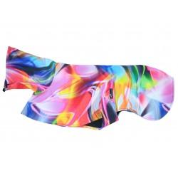 Leichter Whippet-Softshellmantel Regenbogenfarben, ungefüttert, Einzelstück, Rückenlänge 60 cm