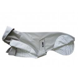 Leichter Whippet-Regenmantel in taupe, gefüttert mit Baumwoll-Jersey gestreift, 5 Größen