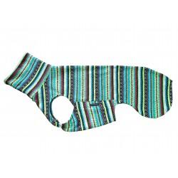 Windhund Pullover aus Strickfleece mit Indio-Muster blau-gelb, ein praktischer Verschluss, 2 Größen sofort lieferbar