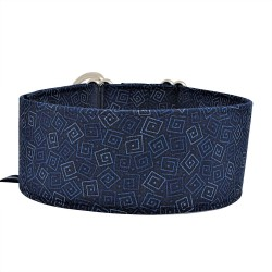Zugstopp Halsband, Windhundhalsband Blue Square, 3 Breiten lieferbar