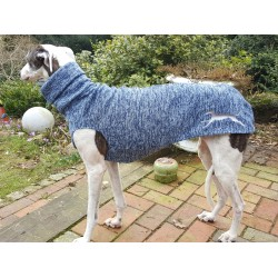 Windhundpullover Strickfleece blau