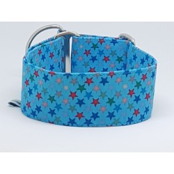 "Zugstopphalsband ""Colorful Stars on Blue"""