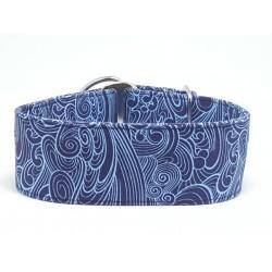 Zugstopphalsband  blau gemustert