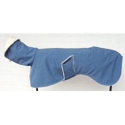 Windhundmantel Softshell jeansblau-meliert,  gefüttert mit Baumwoll-Teddy-Plüsch natur, 5 Größen