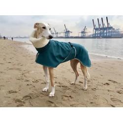 Windhund Softshellmantel petrol-meliert mit BW-Teddy-Plüsch gefüttert, Brustlatz, warm, 4 Größen