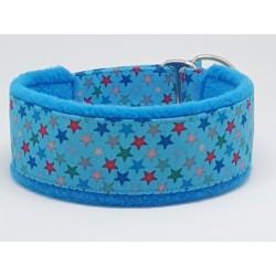 """Zugstopp-Kuschelhalsband """"Colorful Stars on Blue"""", 3 Breiten lieferbar"""