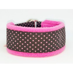 """Zugstopp-Kuschelhalsband """"Pink Dots on Darkgrey"""", Fleece Pink, Weite: 38 cm offen / 32 cm auf Zug, Breite: 4 cm Gurtband"""